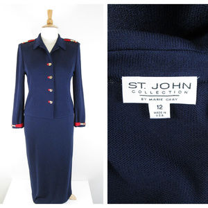 St. John Collection Navy Red Gold Long Skirt Suit